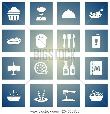 Collection Of Catsup, Pepperoni, Meat And Other Elements.  Set Of 16 Cafe Icons Set.