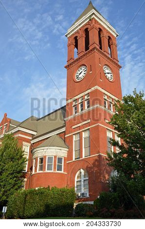 ROME, GA - August 26, 2017 The clock tower of the Floyd County Court House rises high above the main floors of the court house.