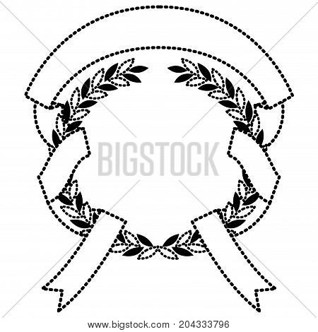 black silhouette dotted olive branches and ribbon interlace vector illustration