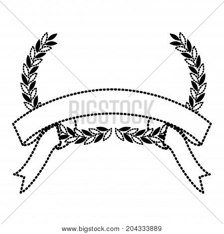 black silhouette dotted olive branches bow and ribbon on bottom vector illustration