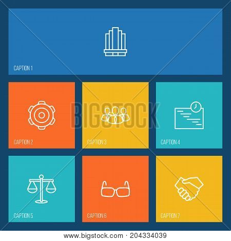 Collection Of Scales, Gear, Business Center And Other Elements.  Set Of 7 Trade Outline Icons Set.