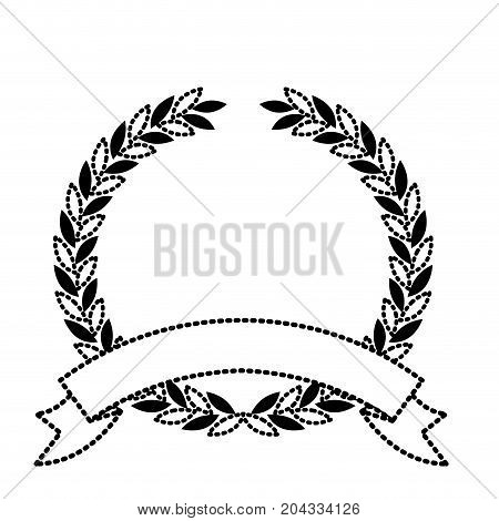 olive branch black silhouette crown with ribbon on bottom in closeup vector illustration