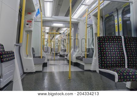 Tower Hill Tube Station, London - September 7 2017: Interior of London train standing in the tube station on September 7, 2017 in London United Kingdom