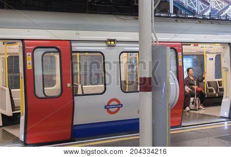 Tube Station London - September 7, 2017: London train standing in the tube station on September 7, 2017 in London United Kingdom