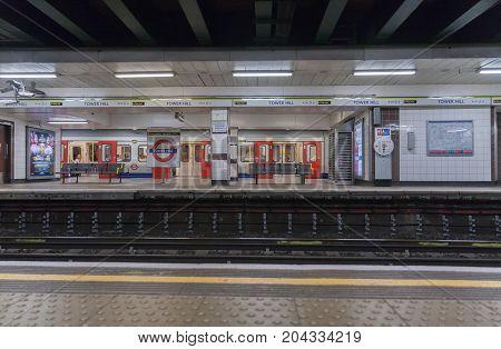 Tower Hill Tube Station, London - September 7 ,2017: London train standing in the tube station Tower hill on September 7,  2017 in London United Kingdom