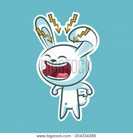 Sticker emoji emoticon emotion, scream with rage, lightning vector isolated illustration character sweet, cute white rabbit, bunny, hare, coney, cony, lapin for happy Easter mobile app