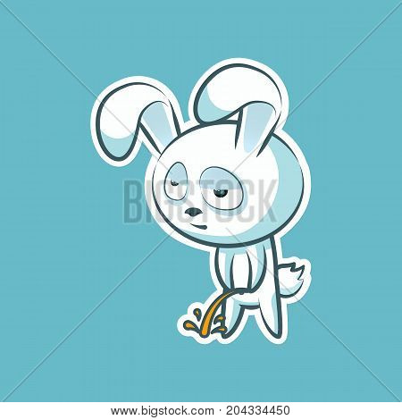 Sticker emoji emoticon, emotion pee with laid-back view vector isolated illustration character sweet, cute white rabbit, bunny, hare, coney, cony, lapin for happy Easter mobile app