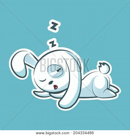 Sticker emoji emoticon, emotion sleep on stomach, lie down, doze, sleepy vector nap character sweet, cute white rabbit, bunny, hare, coney, cony, lapin for happy Easter mobile app