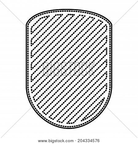 rounded shield in monochrome dotted contour and striped vector illustration