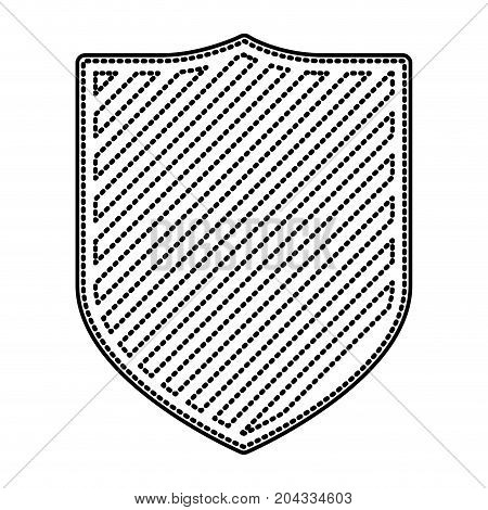 coat of arms monochrome dotted contour and striped vector illustration