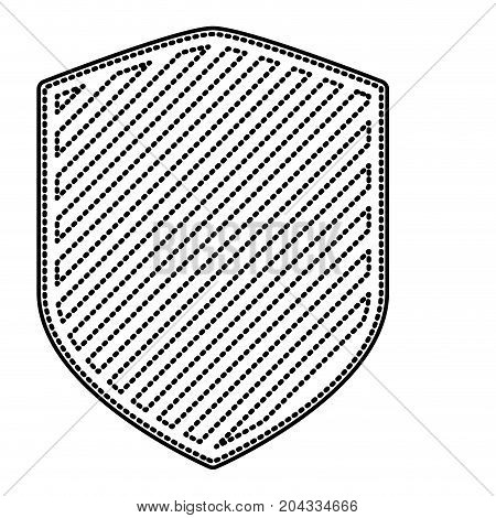 shield in monochrome dotted contour and stripe design vector illustration