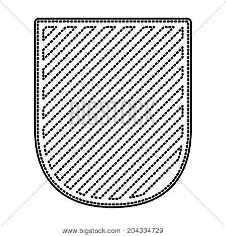 badge in monochrome dotted contour and striped vector illustration