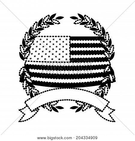 united states flag waving inside of crown of olive branches with ribbon on bottom in monochrome dotted silhouette vector illustration