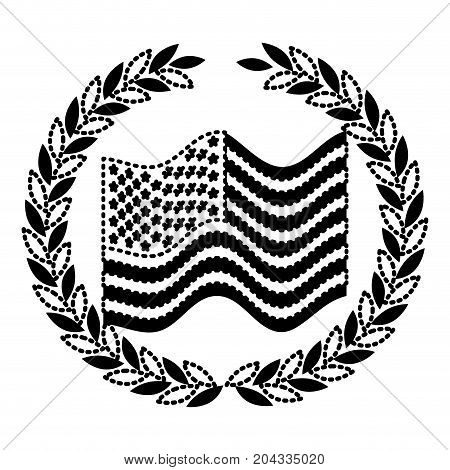 united states flag waving with olive crown in monochrome dotted silhouette vector illustration