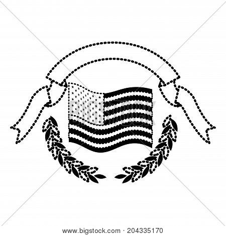 united states flag waving with olive branches and ribbon on top in monochrome dotted silhouette vector illustration