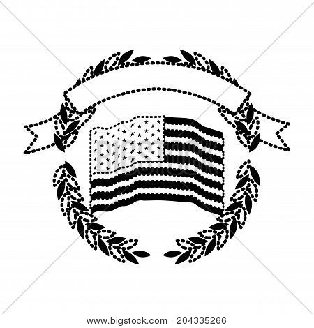 united states flag inside of circle of olive branches with ribbon on top in monochrome dotted silhouette vector illustration