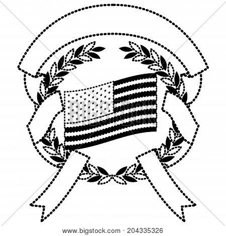 united states flag inside of circle of olive branches and ribbon interlace in monochrome dotted silhouette vector illustration