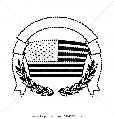 united states flag with half crown of olive branches with thick ribbon on top in monochrome dotted silhouette vector illustration