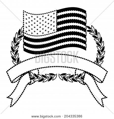 united states flag inside of olive branches bow and ribbon on bottom in monochrome dotted silhouette vector illustration
