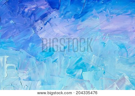 Abstract background texture in blue tones brush strokes with oil paints on canvas
