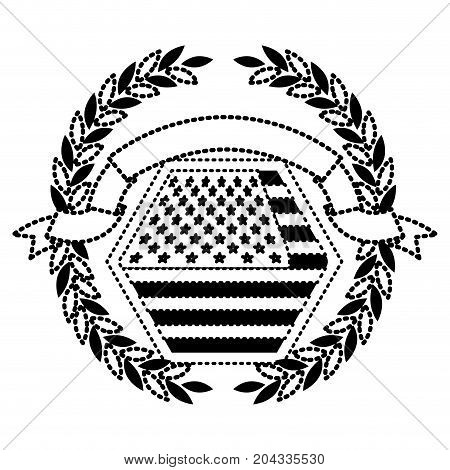 united states flag in shape of hexagon with olive crown and ribbon on top in monochrome dotted silhouette vector illustration
