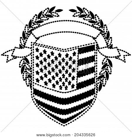 united states flag in shape of shield with olive crown and ribbon on top in monochrome dotted silhouette vector illustration