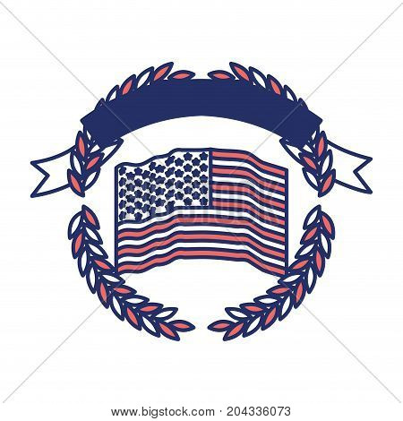 united states flag inside of circle of olive branches with ribbon on top in color sections silhouette vector illustration