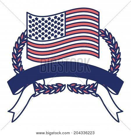 united states flag inside of olive branches bow and ribbon on bottom in color sections silhouette vector illustration