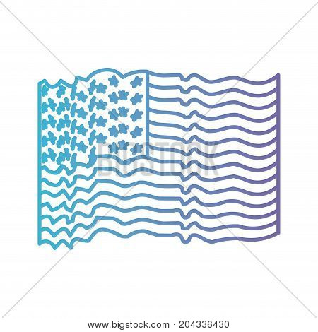 flag united states of america with several waves in color gradient silhouette from purple to blue vector illustration