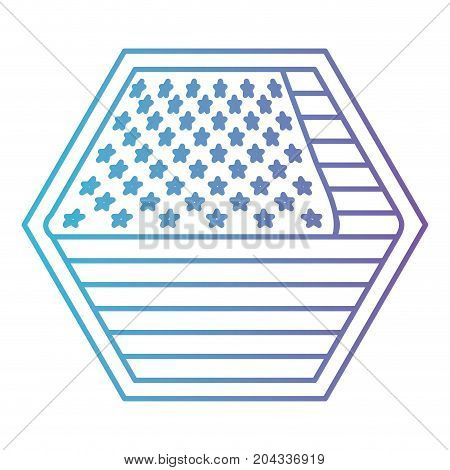 shield in hexagon shape with flag united states of america in color gradient silhouette from purple to blue vector illustration