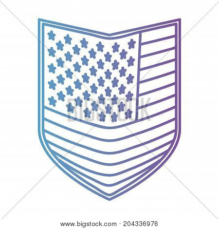 shield of flag united states of america in color gradient silhouette from purple to blue vector illustration