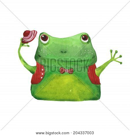 cute frog with hat, watercolor illustration  on white background
