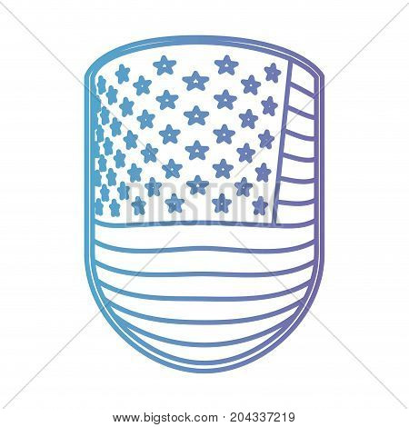 emblem with flag united states of america in color gradient silhouette from purple to blue vector illustration