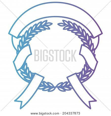 olive branches with ribbon interlace in color gradient silhouette from purple to blue vector illustration