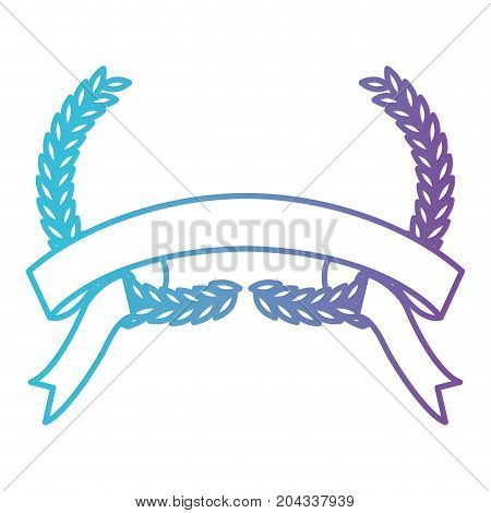 olive branches bow and ribbon on bottom in color gradient silhouette from purple to blue vector illustration
