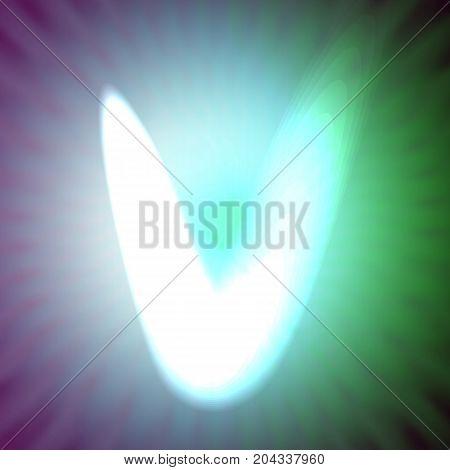 single light blue neon letter v. vector illustration