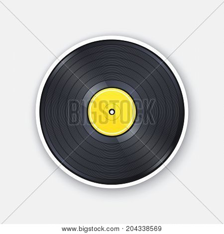 Vector illustration. Retro vinyl LP record with yellow label. Analog media for listening to mono or stereo music. Vintage plastic audio disc. Sticker with contour. Isolated on white background