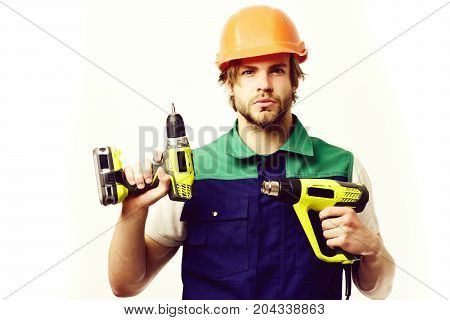 Construction Worker Holds Yellow Building Tools. Finished Work