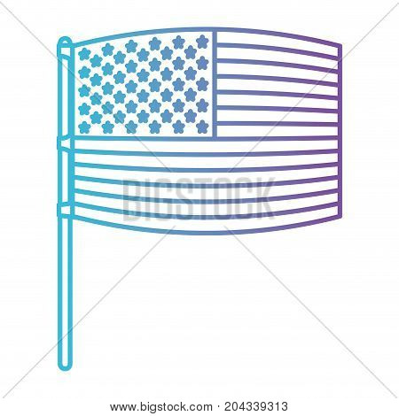 flag united states of america in pole waving out in color gradient silhouette from purple to blue vector illustration