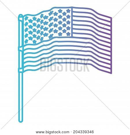 flag united states of america in pole several waves color gradient silhouette from purple to blue vector illustration