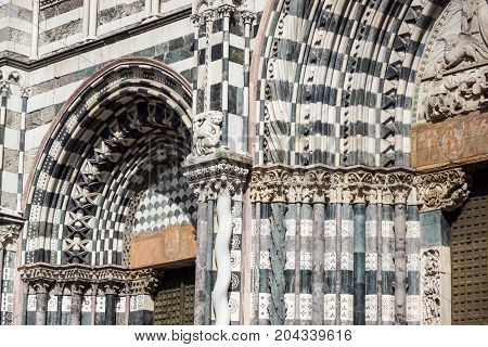 GENOVA, ITALY - July 20, 2017: The Genoa Cathedral or Duomo di Genova or Cattedrale di San Lorenzo in the center of Genova old town