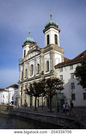 Old Jesuit Church in Lucerne city, Switzerland