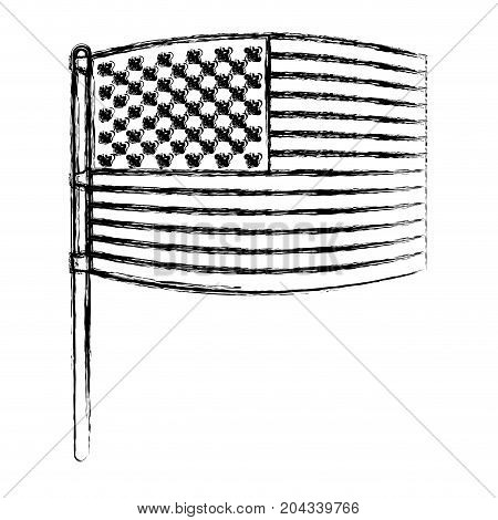 flag united states of america in pole waving out in blurred silhouette vector illustration