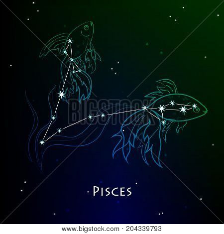 Pisces ( Fishes ) - constellation and zodiac sign against the background of a dark starry sky. Vector illustration on a black backdrop.