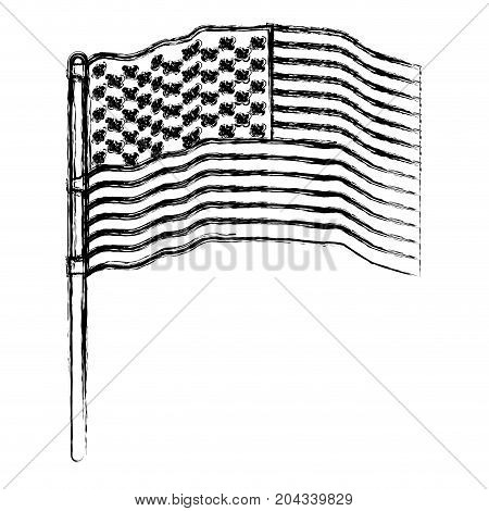flag united states of america in pole several waves in blurred silhouette vector illustration