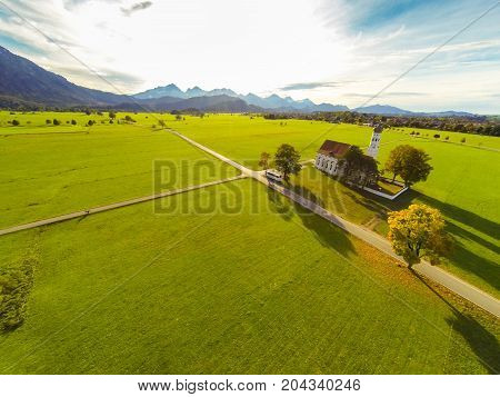 aerial view of a church in bavaria, germany