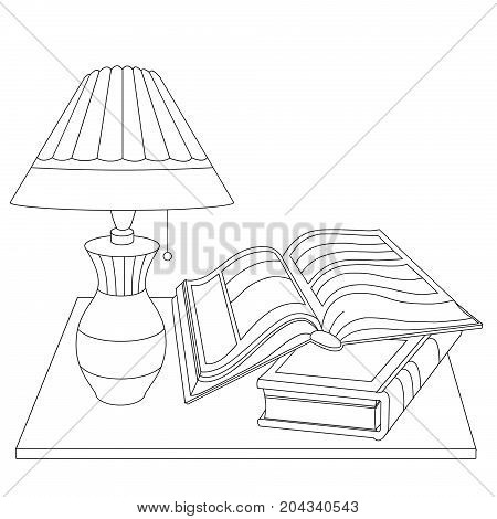 Vector Black And White Illustration Of A Table With A Lamp And Books.
