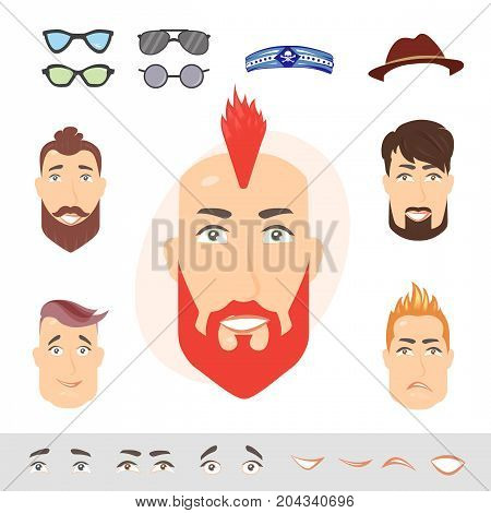 Man face emotions constructor. Hipster parts eyes lips beard mustache avatar creator vector cartoon character creation spare parts spares animation.