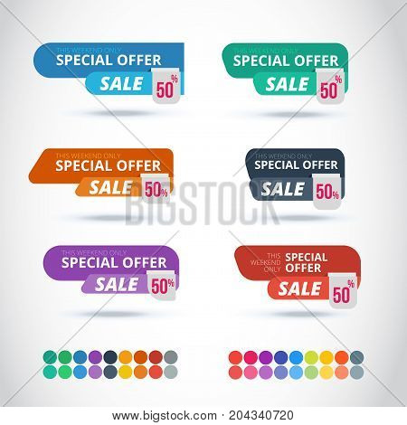 Style Sticker and Banner Template. Isolated on gray background. Blank for your text Web site and project. Stickers design template. Colorful multipurpose banners set and bous flat color pallete
