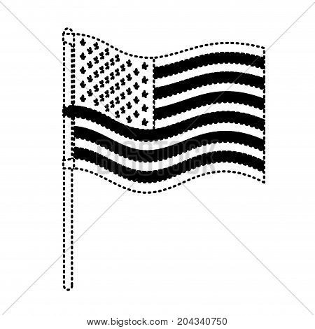 flag united states of america in pole waving in dotted monochrome silhouette vector illustration